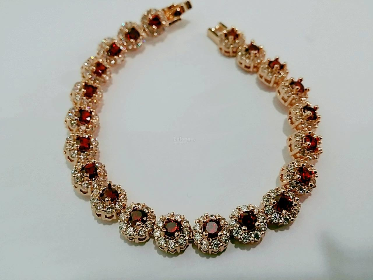 Red ruby bracelet with gold plated