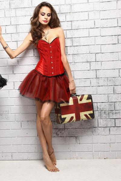 Red Satin Sweetheart Corset Size M #s042