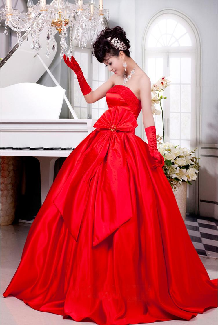 Red wedding dress with ribbon design end 6 30 2013 1 49 pm for Red and black wedding dresses for sale