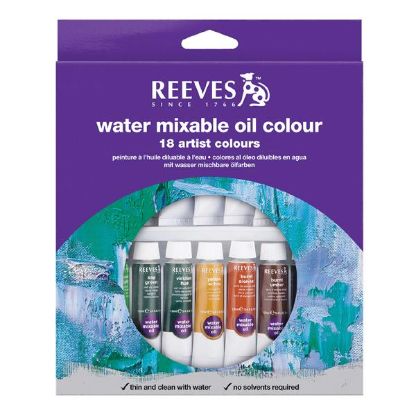 Reeves Water Mixable Oil Colour 18's x 10ml