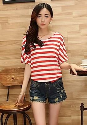Relax Loose Stripe Blouse (Red)