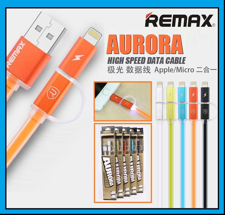REMAX 2 in 1 Aurora Apple Lightning & Micro USB Data Cable