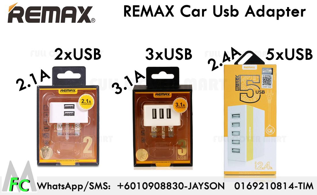Remax 5 2.4A 3 Port 3.1A 2 Port 2.1A USB Charger Adapter