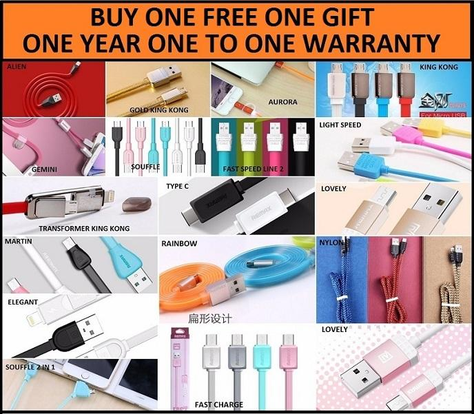 REMAX Fast Charging Lightning Type C Micro USB Cable iPhone Samsung