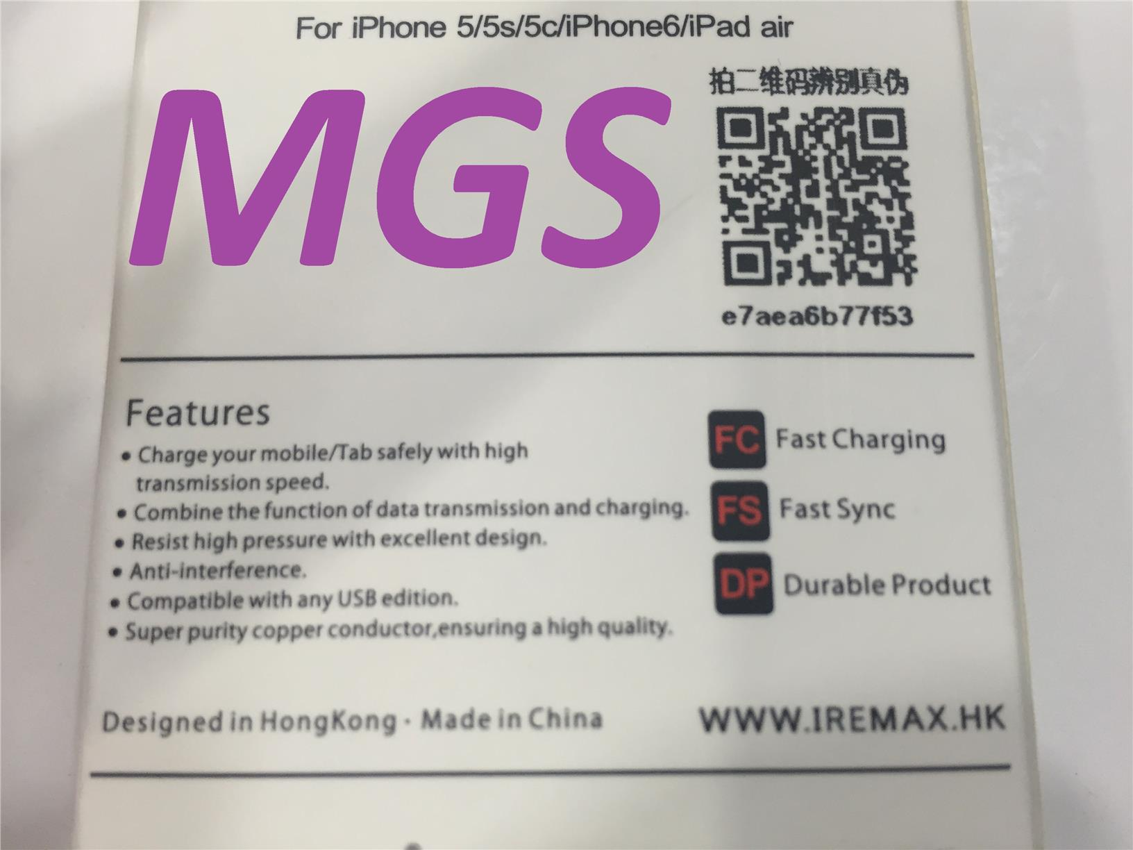 Remax IP5/5S/6/IPAD AIR Usb Data Cable White