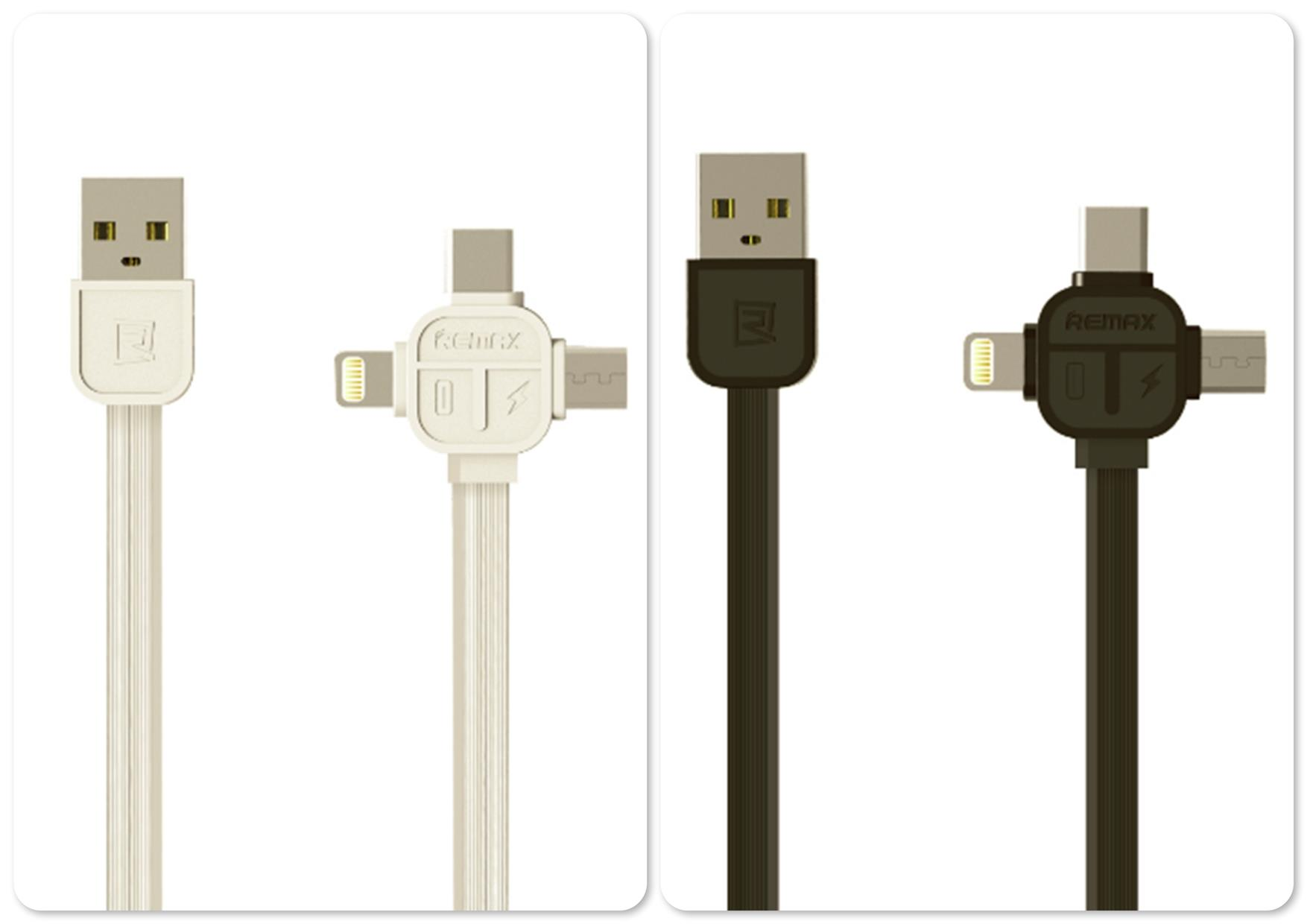 Remax Lesu series 3 in 1 MicroUSB Lightning Type-C Data Cable