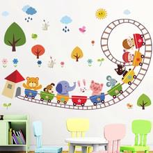 Removable Wall/Glass Sticker Bedroom Nursery (AnimalRollerCoaster)