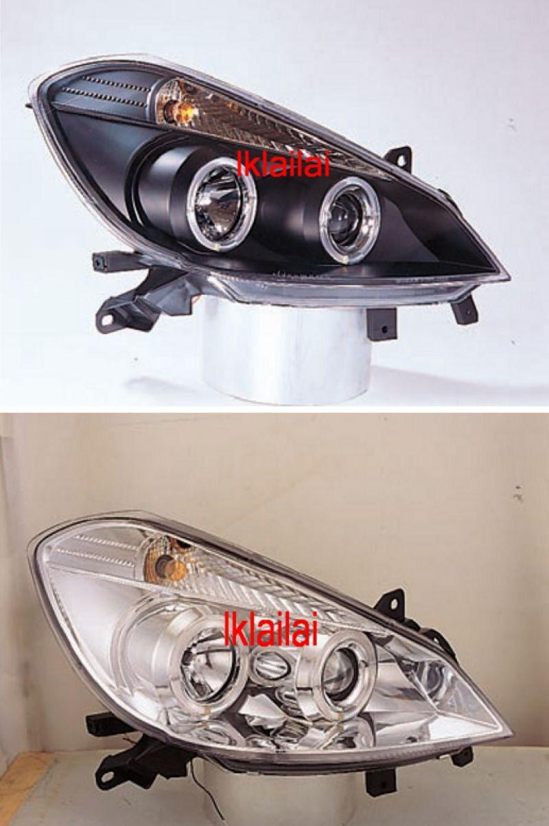 RENAULT CLIO 05 3D/5D LED Ring Head Lamp [Black/Chrome Housing]