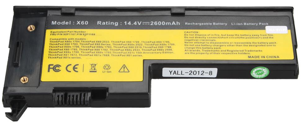 Replacement Battery For IBM Lenovo Thinkpad X60 X61 4 cells