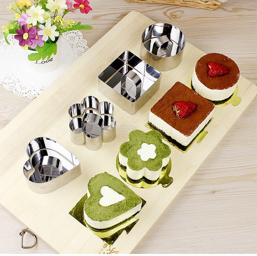 Retractable Mousse Cake Ring Mold Mould with Food Press