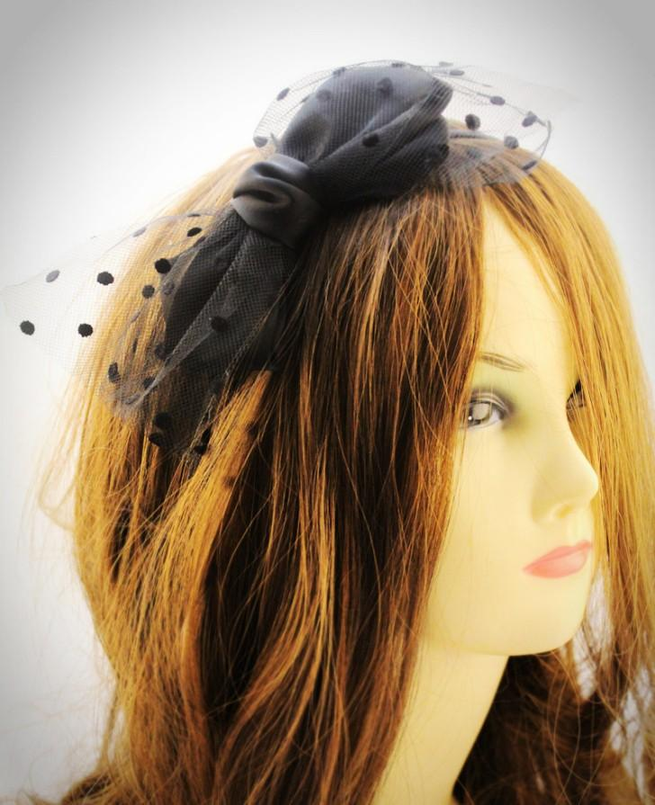 Retro Double-layer Dot-dot Gauze Satin Ribbon Hair Band