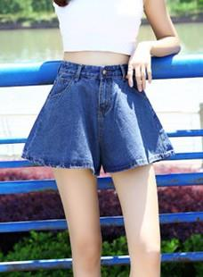 Retro Jean Show-slim Bell Bottom Shorts (Dark Blue)