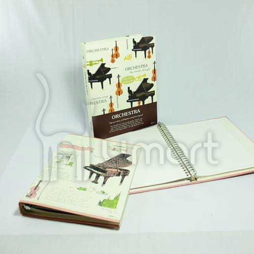 Retro Music Grand Piano B5 Loose-Leaf Notebook / Note Pad / Diary