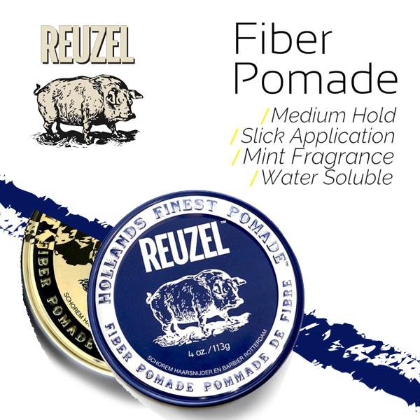 REUZEL Water Soluble Fiber Hair Pomade Pliable Hold Natural Finish USA