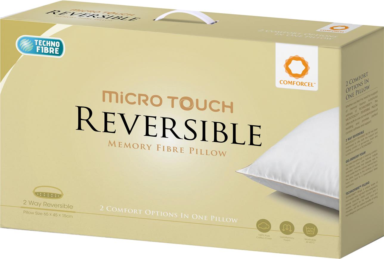 REVERSIBLE Micro Touch Memory Fibre Pillow 2 Comfort In One Pillow