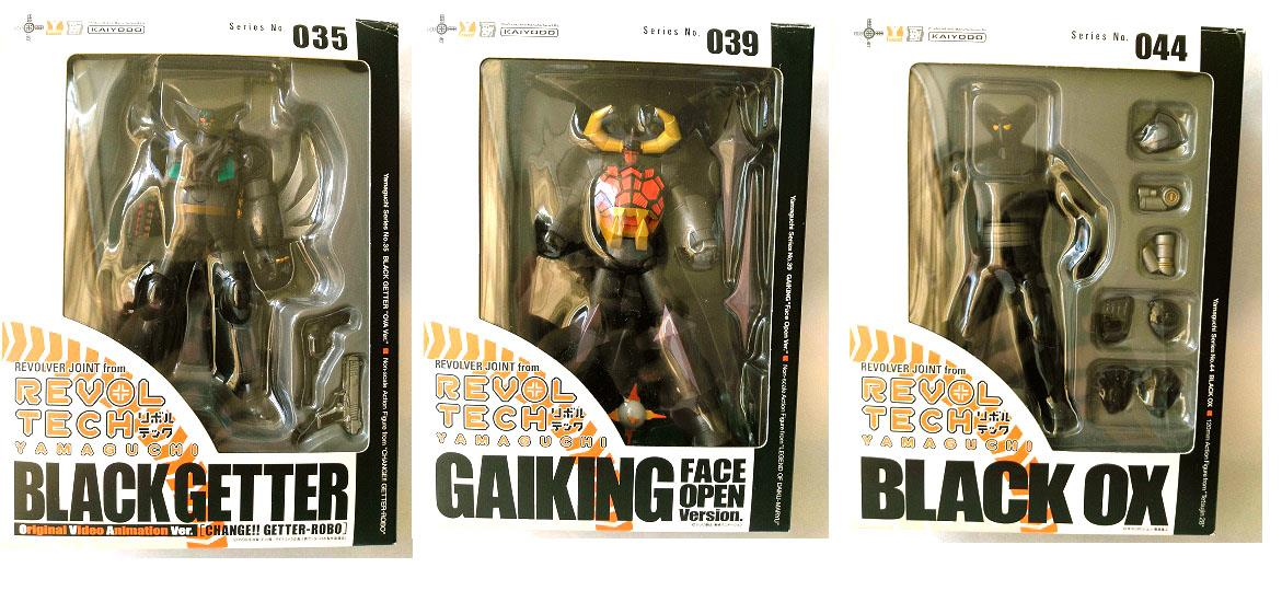 Revoltech Action Figure Black Getter 035, Gaiking 039, Black OX 044