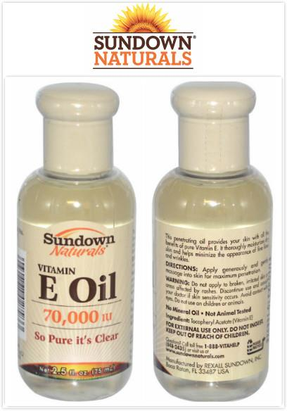 Rexall Sundown Naturals, Pure Vitamin E Oil, 70,000 IU (75 ml)