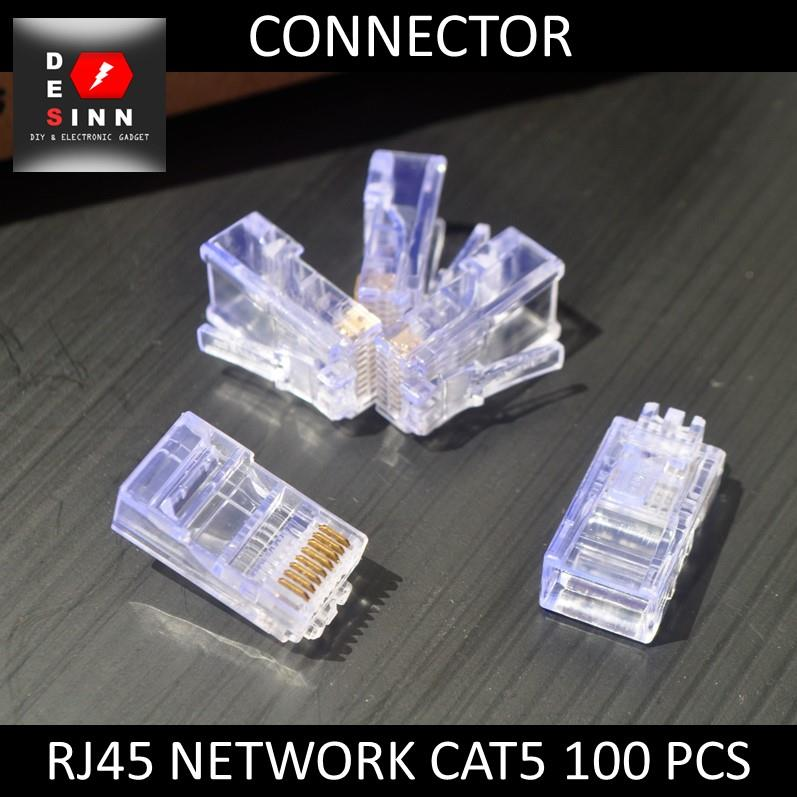 RJ45 Network CAT5 Connector - 100 pcs