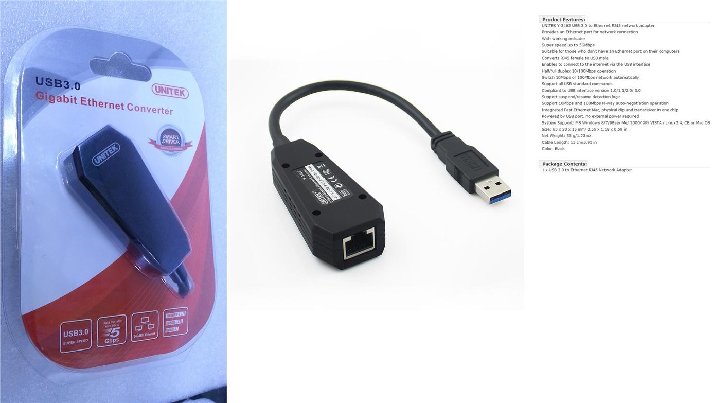 RJ45 to USB 3.0 Gigabit Ethernet Y-3462