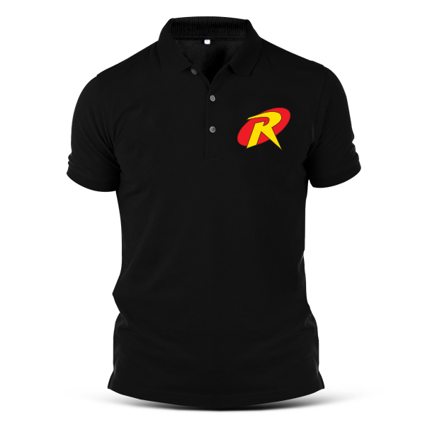 ROBIN Superhero Collar T-shirt Embroidery Logo Cool DC 8