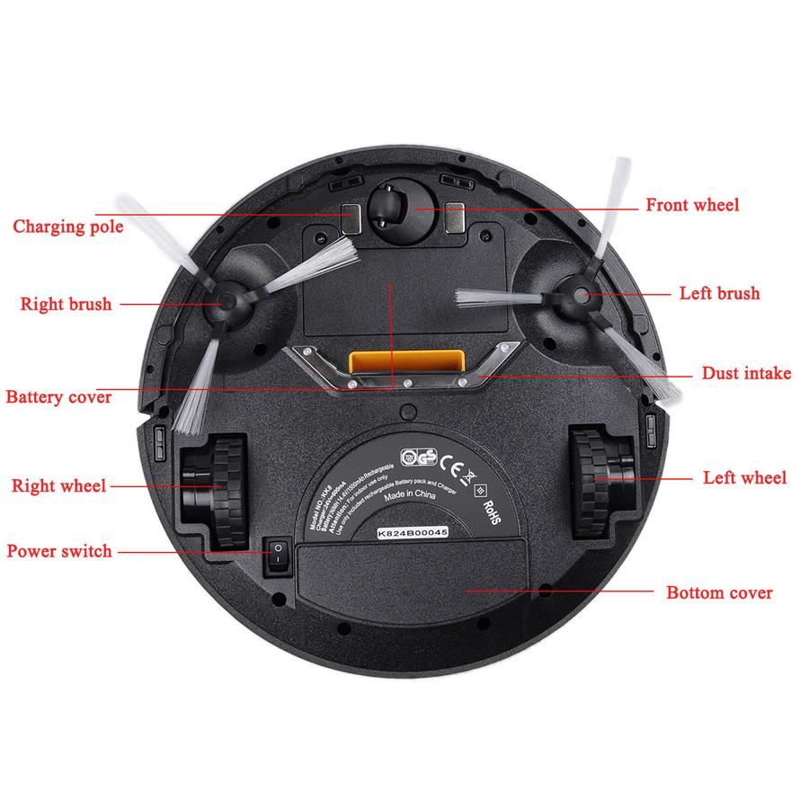 Robot Vacuum Machine - Ultra Slim iROVA KK8 (Black Color)
