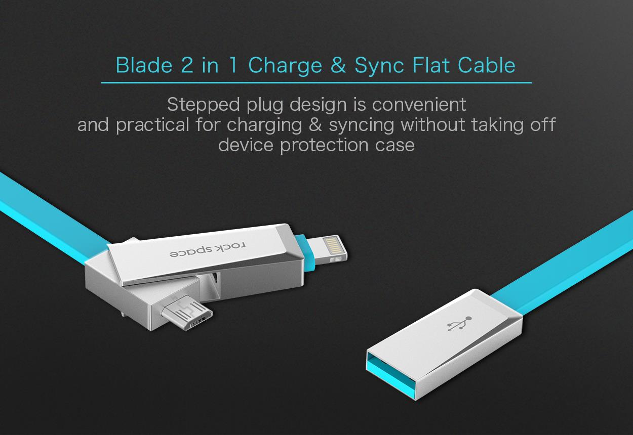rock space Blade 2 in 1 Charge & Sync Flat Cable