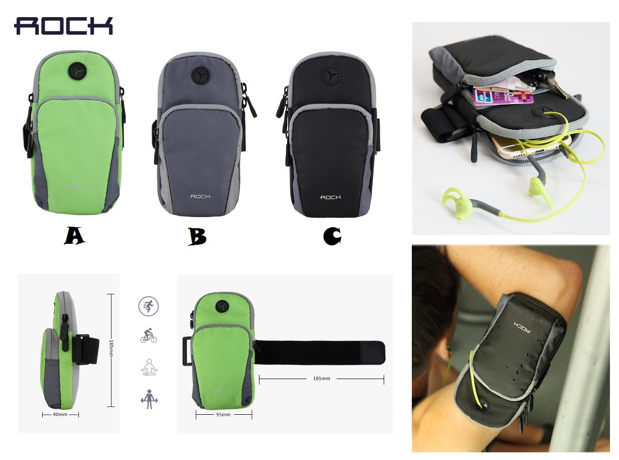 ROCK Waterproof Arm Running Jogging Sport Elastic Pockets Bag Pouch