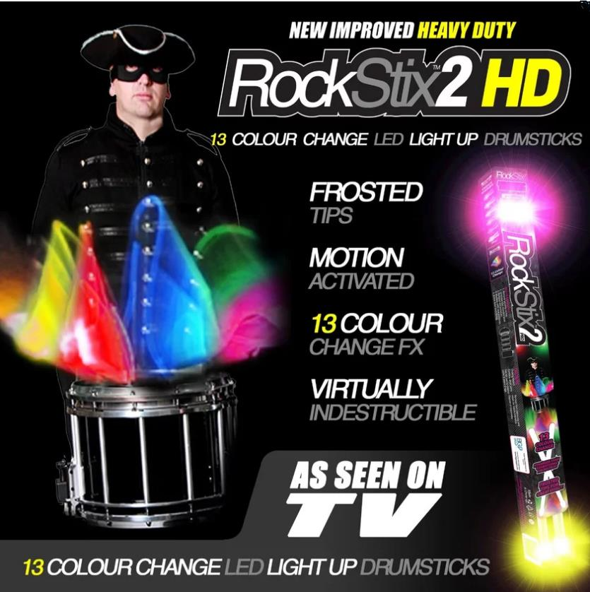 Rockstix 2 HD Multi Colour Change Bright Led Light Up Drumsticks
