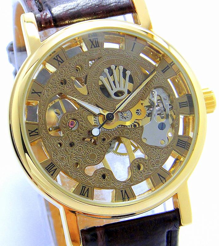 ROLEX choo full GOLD auto SELF WINDING skeleton completely see through..