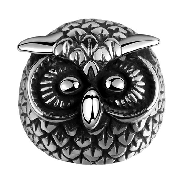 Romacci Animal Modelling Retro Black Cool Owl Finger Ring Jewelry