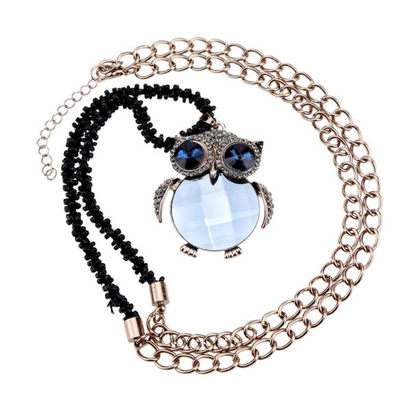 Romacci Shinning Cute Light Blue Owl Pendant Collar Chain Necklace