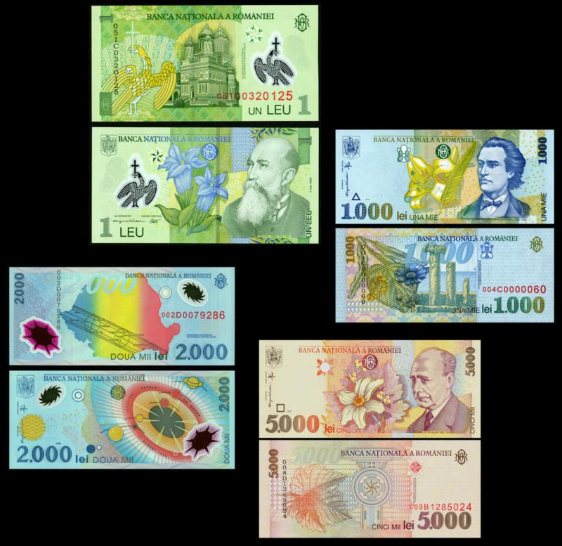 Romania 1, 1000, 2000, 5000 lei 2 polymer 4 notes
