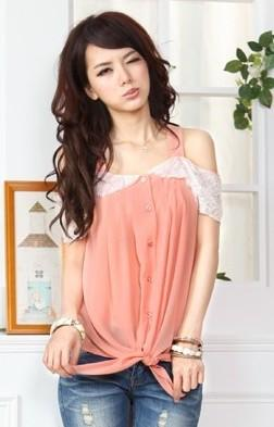 Romantic Lace-Chiffon Blouse (Red)
