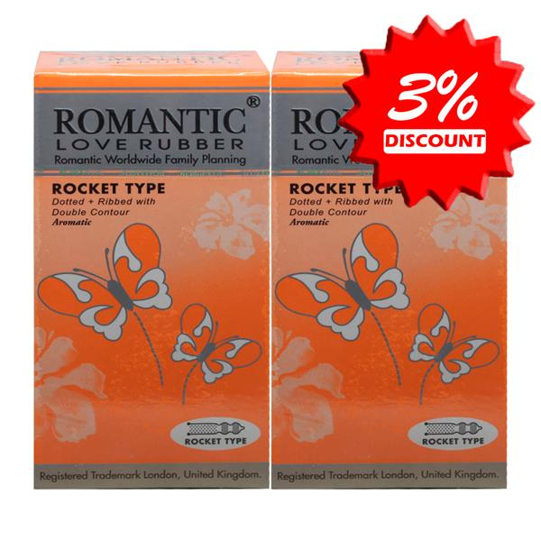 Romantic Love Rubber Rocket Type (Ribbed) Condom (Kondom) - 12's