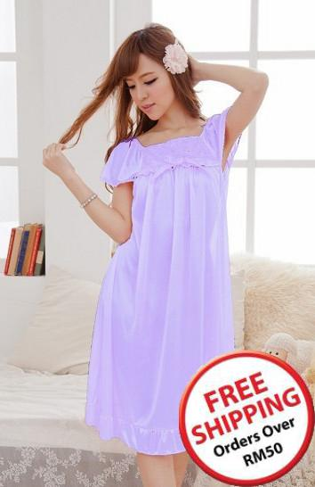 Romantic Rose Ribbon Ice Silk Lingrie (Light Purple) ~ 14693