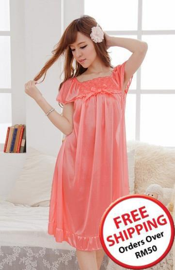 Romantic Rose Ribbon Ice Silk Lingrie (Red Melon) ~ 14693