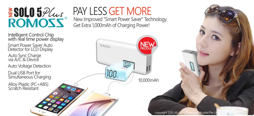 @ Romoss Power Bank Solo 5 Plus 10000mAh 2 Usb with 2.1A Fast Charge @