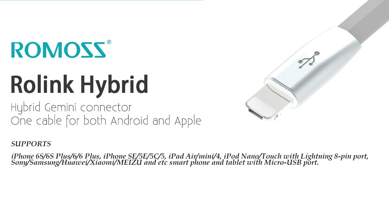 Romoss RoLink Hybrid Cable 2-In-1 Micro USB & Lightning