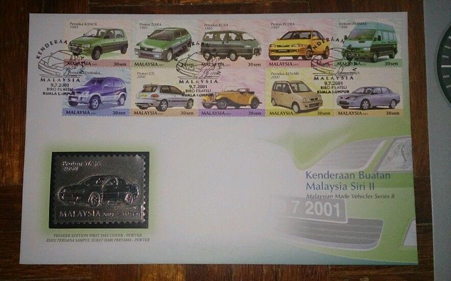 Royal Selangor Premier Pewter Stamp FDC - 2000 Malaysia Made Vehicles