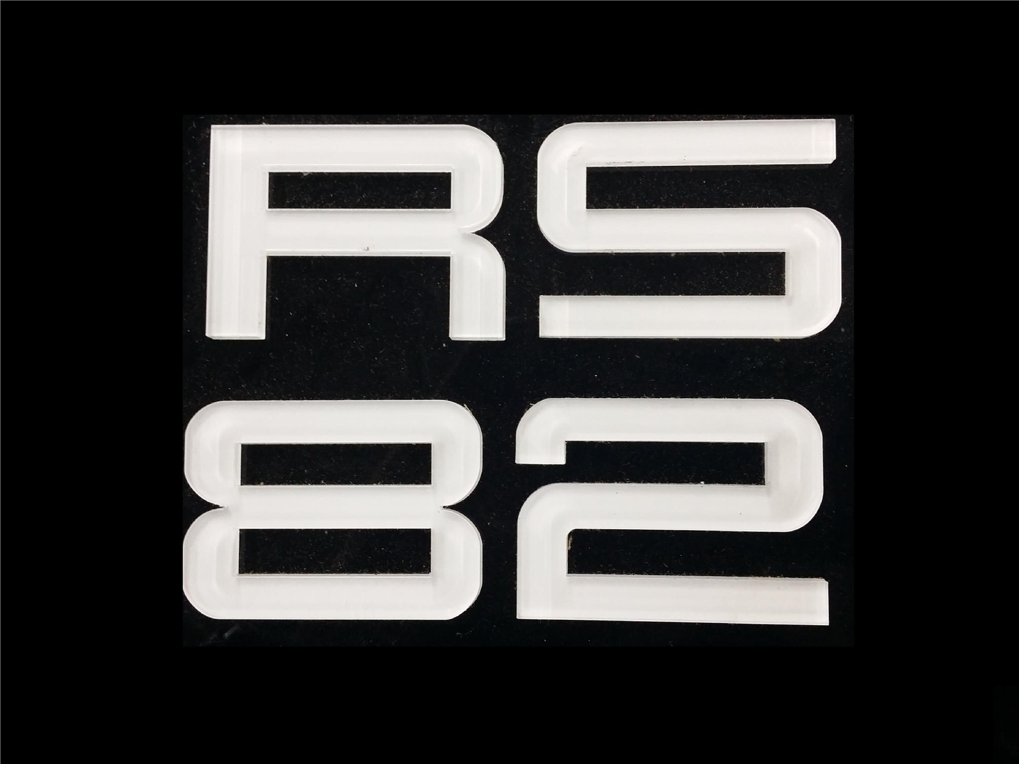RS FONT CRYSTAL ACRYLIC CAR NUMBER PLATE SET 2 - 7 ALPHABET