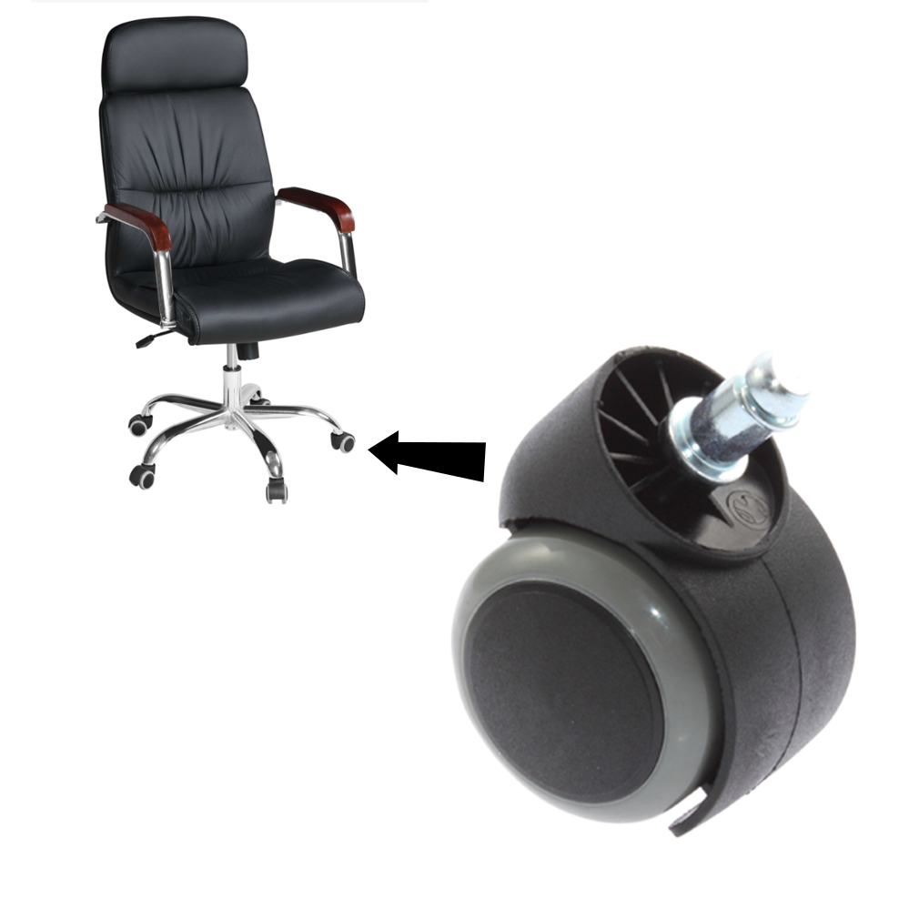 rubber dual swivel wheel casters office computer chair castors threade