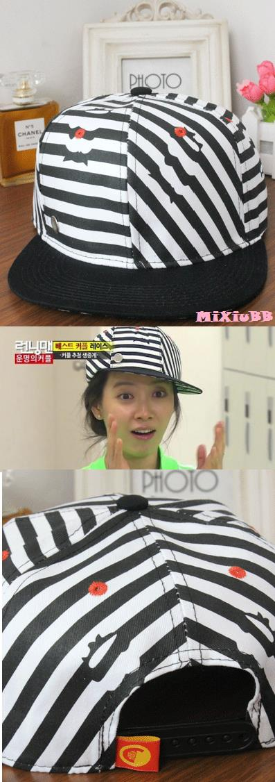 Running Man Song JiHyo Lucky Chouette Stripes Cap