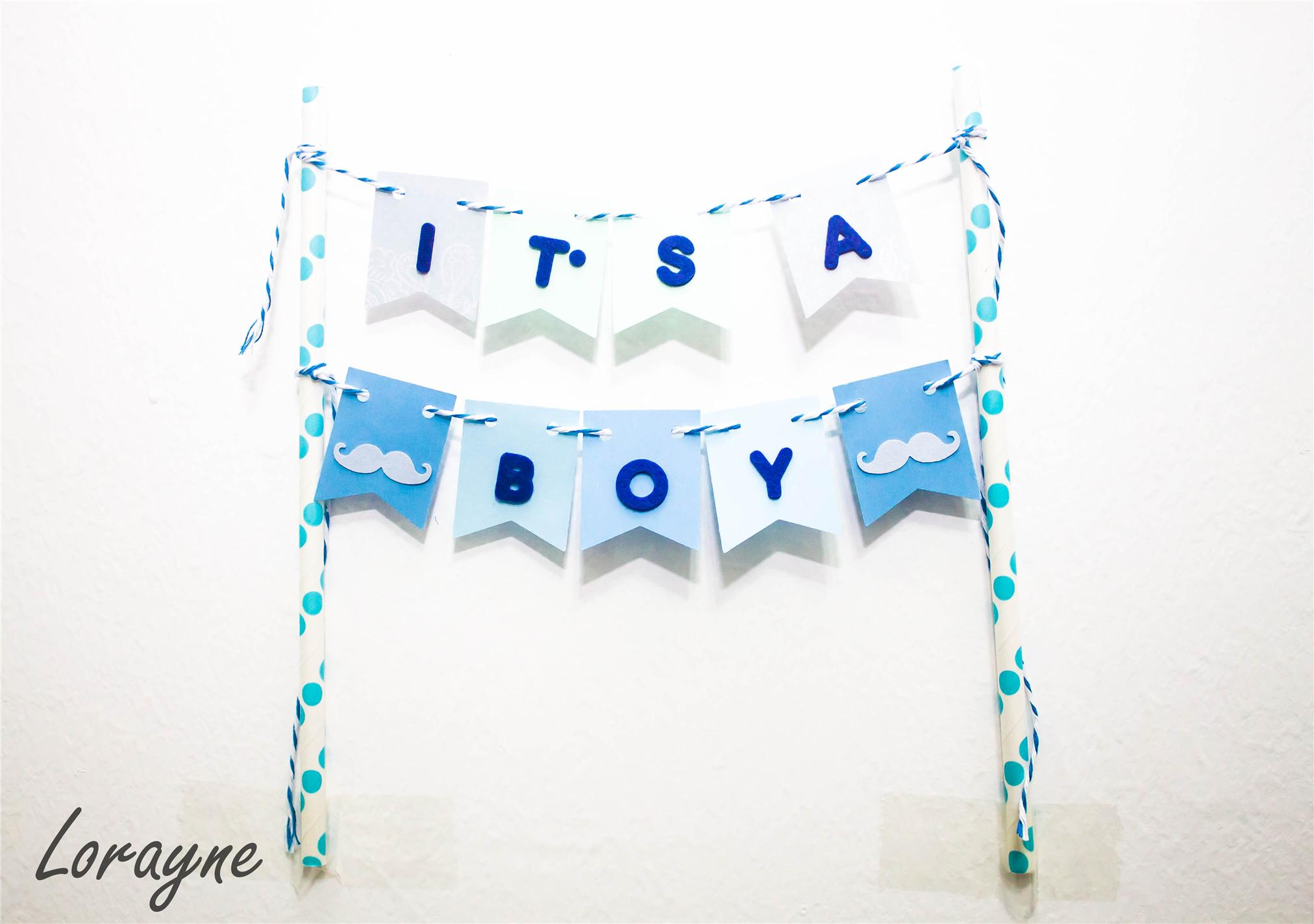 Baby Gift Johor : It s a boy cake bunting topper for baby shower johor