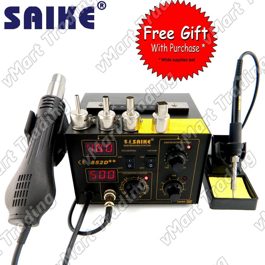 SAIKE 852D++ Digital Soldering & Hot Air Rework Station + FREE GIFTS