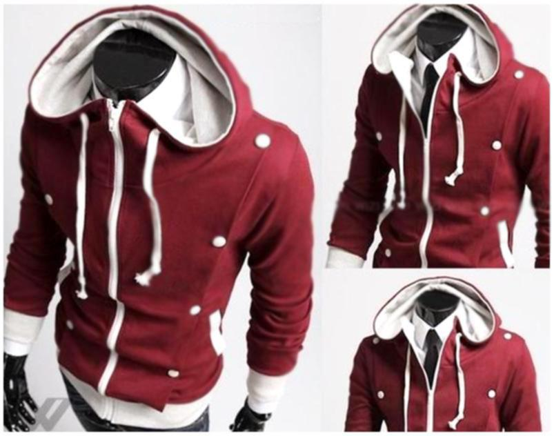 SALE!!! D.HOMME KOREAN STYLISH OBLIQUE BUTTONS HOODED JACKET
