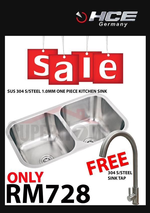 [SALE PACKAGE 4]-HCE-304 S/Steel Kitchen Sink-Free Sink Tap