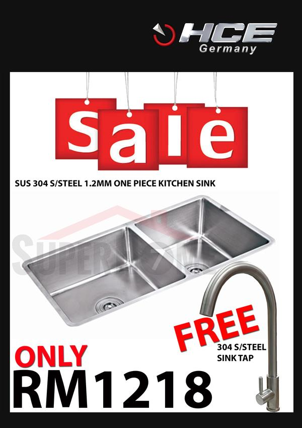 [SALE PACKAGE 6]-HCE-304 S/Steel Kitchen Sink-Free Sink Tap