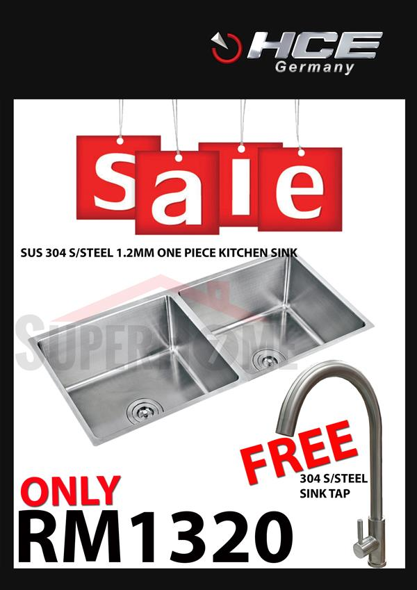 [SALE PACKAGE 7]-HCE-304 S/Steel Kitchen Sink-Free Sink Tap