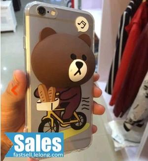 SALES➤ iPhone Line Brown Cony Pop Up Face Casing Case Cover