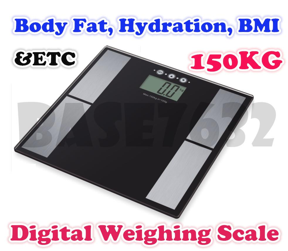 150KG BLACK ELECTRONIC DIGITAL LCD BMI CALORIE /& BODY FAT BATHROOM WEIGHT SCALE